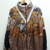Awesome Vintage 1980s Animal Abstract Hipster Silky Hip Hop Design Swag Nylon Jacket