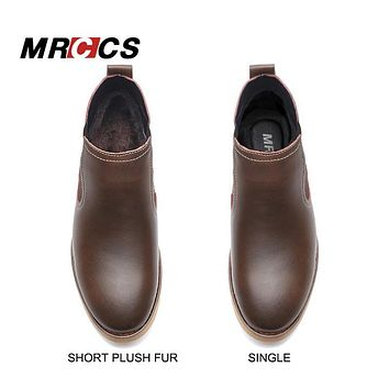 MRCCS Handmade Brush Leather Chelsea Boots Men,Spring/Autumn/Winter Army Military Boots,Luxury Bronze/Burgundy Red Design Shoes