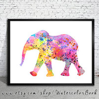 Elephant 5 Watercolor Print, Fine Art Print, Children's Wall Art, animal watercolor, watercolor painting, elephant watercolor, animal art