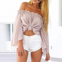 Loose Long Sleeve Chiffon Strapless Shirt Top Tee