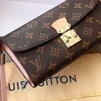 LV Old Flower Retro Long Flip Coin Case