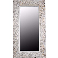 Aesthetic Mirror With Rattan Frame, White By Benzara