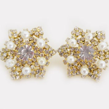 Gold Snowflake Earrings Studs, Large Crystal Stud Earrings Pearl, Wedding Jewelry