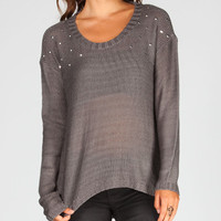 Full Tilt Nail Head Womens Hi Low Sweater Grey  In Sizes