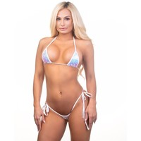 Scrunch Butt Two Piece - Hollywood Iridescent - White