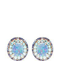 Ophelia Earrings With Opal Doublets, Round Brilliant Blue Blue Sapphires, And Apatite by Shawn Ames - Moda Operandi