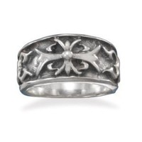 CleverSilver's Oxidized Cross Design Sterling Silver Ring