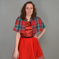 SALE. Red and Teal Tartan Capelet. Small. 1952 Vintage Reproduction. Sample Sale.