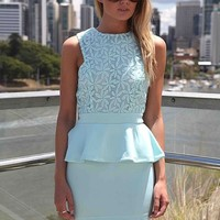 Light Blue Peplum Mini Dress with Floral Lace Overlay Top