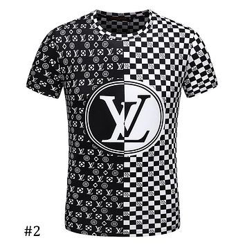LV Louis Vuitton 2018 summer new black and white checkerboard print T-shirt F-A00FS-GJ #2
