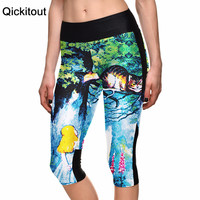 S-XL New arrival Sexy 2015 women's 7 point pants Forest tree Cheshire Cat digital print women high waist Side pocket phone pants
