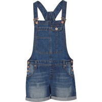 Mid wash turned up short overalls - playsuits / jumpsuits - sale - women