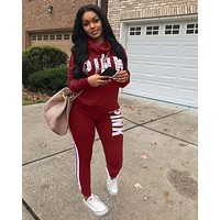 PINK Victoria's Secret Women Fashion Top Sweater Pullover Hoodie Pants Trousers Set Two-Piece