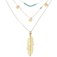 18Kt Gold Tone Leaf Layered with Turquoise Beads and Hammered Circle Charms