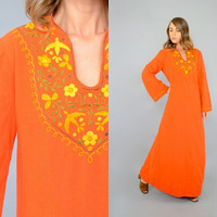 70's Embroidered MEXICAN Kaftan Dress