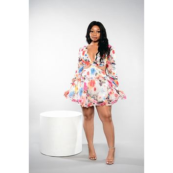 Its A Vibe Floral Cut Out Dress