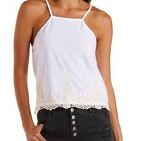 White Embroidered Racer Front Tank Top by Charlotte Russe