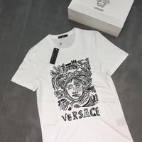 """""""Versace"""" Unisex Casual Fashion Letter Pattern Print Couple Short Sleeve Cotton T-shirt Top Tee"""