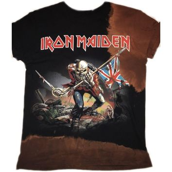 "Hand Bleached Iron Maiden ""Trooper"" Band Tee"