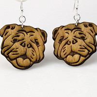 English BullDogs Wood Earrings by GreenTreeJewelry on Etsy