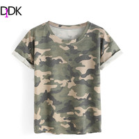 DIDK Women Fashion Clothes Women 2016 Ladies Summer Tops Round Neck Rolled Short Sleeve Casual Camouflage T-shirt