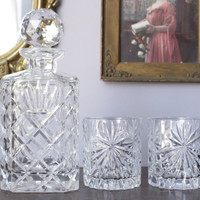 Vintage Crystal Decanter Set With Two Glasses // Wine Scotch Liquor Whiskey Bourbon Decanter // Bareware // Holiday Gifts For Men