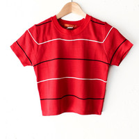Striped Crop Tee - Red