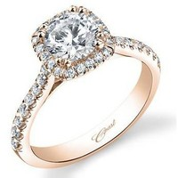 Coast Cushion Halo Rose Gold Diamond Engagement Ring