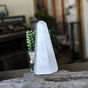"""4"""" Polished Selenite Tower, Wiccan Altar Supplies, Stone Specimen, Natural Selenite Specimen, Wicca Crystal Healing Stone, White Stone Tower"""