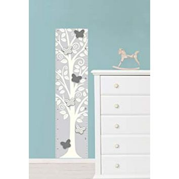 Brewster Silhouette Tree with 3D Butterflies Growth Chart Wall Decal