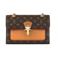 Louis Vuitton Women's casual wild texture printing chain bag shoulder diagonal package small square bag