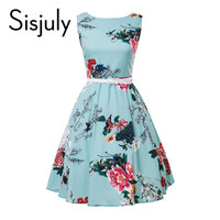 SISJULY VINTAGE SUMMER WOMEN DRESS WITH FLOWER PRINT PARTY DRESS WITH LEATHER SASHES SLEEVELESS TURQUOISE WOMEN VINTAGE DRESSES
