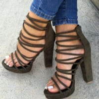 New sexy ankle cross strap high thick heel zipper sandals for women