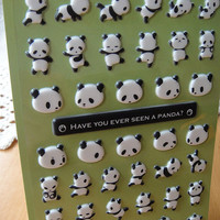 Lovely Panda stickers-Cute Funny Panda Puffy Sticker/kawaii stickers/cute stickers