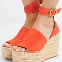 Chloé - Lauren scalloped suede espadrille wedge sandals