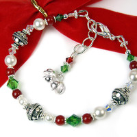 Festive Red Green Holiday Bracelet Adjustable White Pearls Crystals