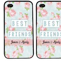 FLORAL BEST FRIENDS bff Case / Flower Pattern iPhone 4 Case Personalized iPhone 5 Case iPhone 4S Case iPhone 5S Customize with Names
