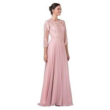 Mid-Sleeved Long Formal Dress with Appliques Dusty Rose
