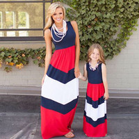 Mommy and Me 4th of July Chevron Maxi Dress
