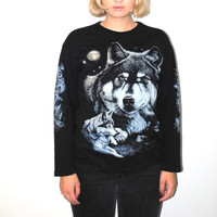 vintage wolf shirt 90s long sleeve animal graphic tee tshirt medium
