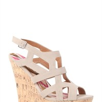 Open Toe Cork Wedge Heel with Strappy Shielded Upper with Cut Outs