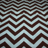 "Premier prints dark brown and blue chevron print, 1 yard 57"" wide, canvas"