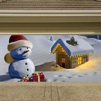 Christmas Garage Door Cover Banners 3d Snowman Holiday Outside Decorations Outdoor Decor for Garage Door G28