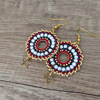 Beaded Hoop Earrings, Boho Earrings, Star Earrings, Disc Earrings, Beadwork Jewelry, Birthday Gift, Gift for Her, Gold Plated Earrings