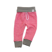 pink stripe sweatpants, baby heather sweats, organic kid pants, take home outfit, pink grey sweatpants, baby jogging outfit, newborn