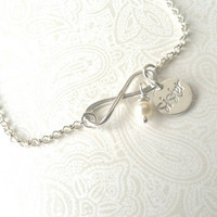 Infinity Sisters Bracelet in Sterling Silver with Swarovski Pearl Element  --Gift for Sister,  Sister Gift