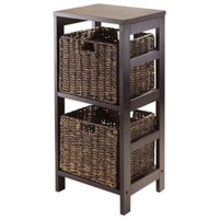 Winsome Trading Granville 2-Tier Storage Shelf with 2 Small Baskets in Espresso/Chocolate