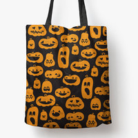 pumpkin patch - 18 x 18 printed tote bag | fall + halloween trick or treat bag SALE | BEST PRICE