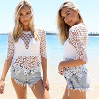 Crochet Bikini Hollow Out Beach Tops