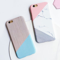 Fashion Geometric Splice Pattern Marble Case For iphone 7 Case For iphone7 6 6S / Plus Phone Cases  Funny Stone Back Cover Capa -0315